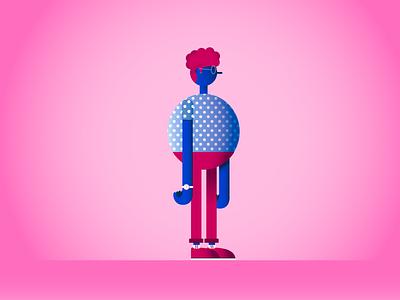 PINKY MAN design cartoon designer colors design graphic character illustrator character design artwork vector illustration