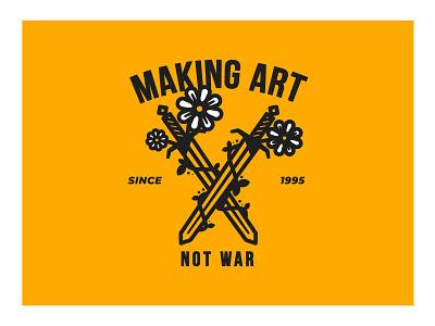 Making Art Not War vector art vector illustration vectors designs designer vector design thicklines lines flowers swords artwork art illustration