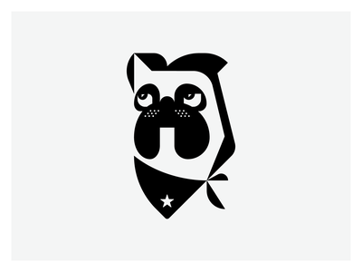 Bulldog with Bandana geometry geometric design logo design logodesign logomarks logos logomark mark logo bulldog