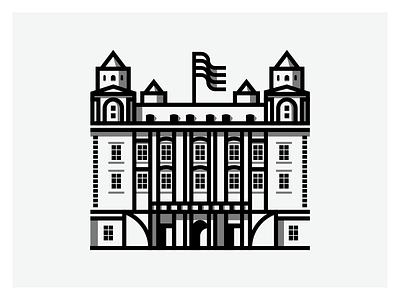 Castle geometry minimal geometric design castle illustration