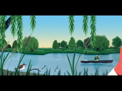 NaBu - Blue Ribbon - Storyboard fish pollution fff rivers climate nature scroll storyboard design illustration rig animation after effects 2d