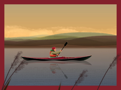 Calm waters... NaBu - Blue Ribbon Detail waves mountains cycle paddle bts water nature parallax canoe river shape layers illustration animation after effects 2d