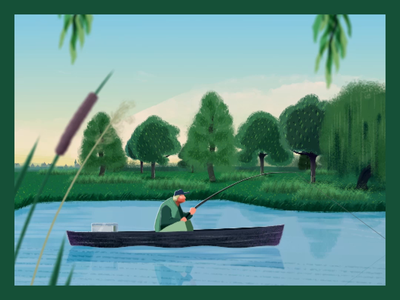 Gone fishing... NaBu - Blue Ribbon Detail landscape trees fishing shape layers waves calm waters parallax river boat illustration animation after effects 2d