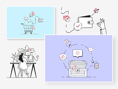 Ecommerce illustrations website ecommerce 2020 design illustration design