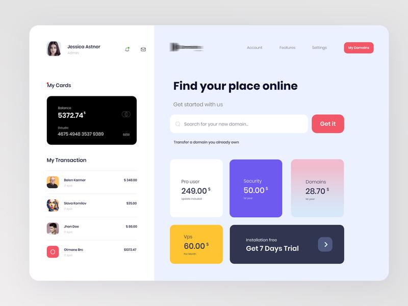 Search Domain | Dashboard design uiux ux user experience product design design domain dashboard app dashboard ui credit card clean branding analytics dashboard dashboard design