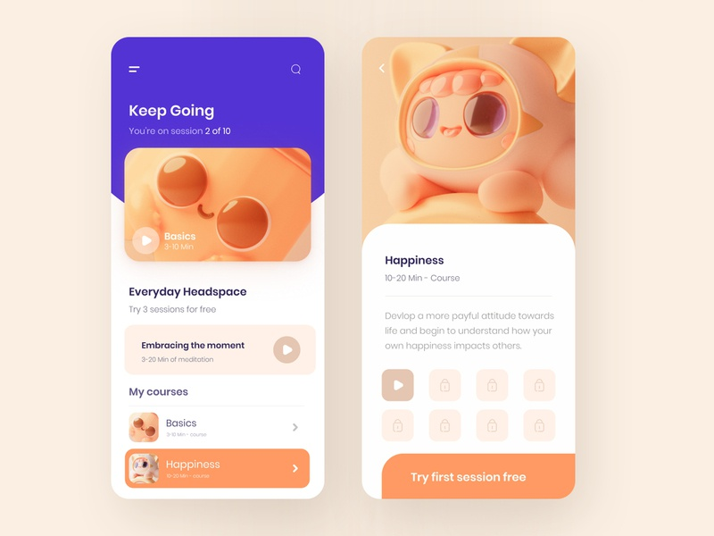 Meditation - mobile app 3d illustration app 3d illustration illustration purple app orange userinterface headspace mobile app meditation app meditation uixdesign ui ui design
