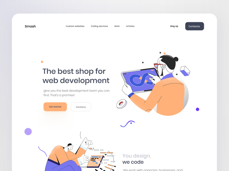 Coding services - Landing page purple orange colorful developer website design webdesign creative illustraion developement landing page design landingpage ui