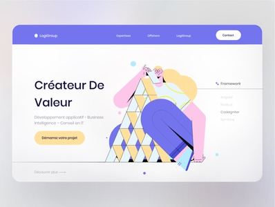 Software company - Landing page blurred background illustration creative software company software design development morocco french website webdesign landing page design ui ux ui design