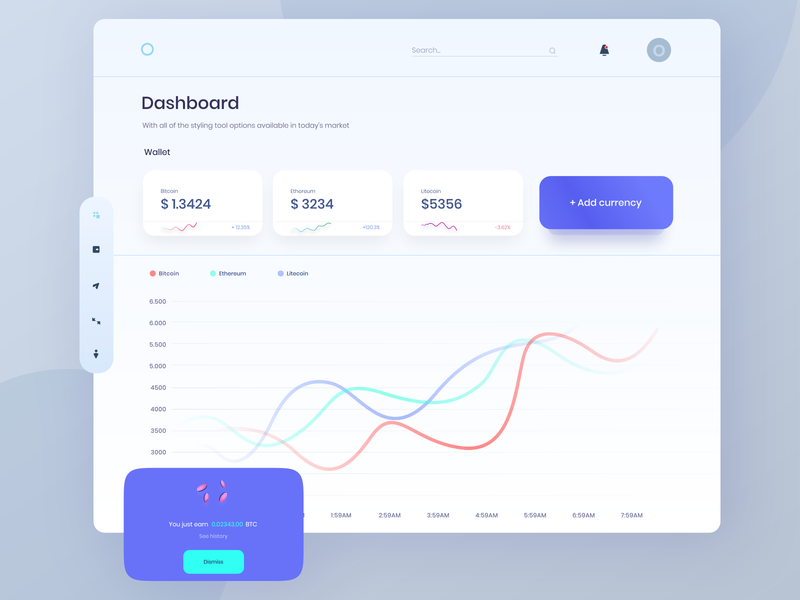 Crypto Wallet Dashboard creative web app design dashboard uxdesign uidesign crypto dashboard wallet dashboard dasboard currency wallet crypto wallet