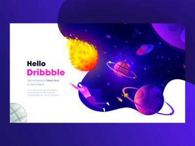 Hello Dribbble vector creative galaxy space illustration hello dribble first shot ux ui design