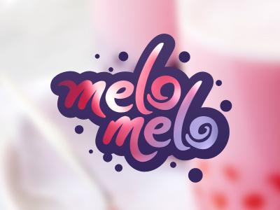 Melo Melo bubble tea food drink tea cold summer logo branding bubble