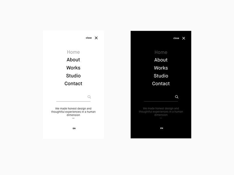 Mobile Menu UI Design open mobile webdesign elegant minimalist white black menu design ui