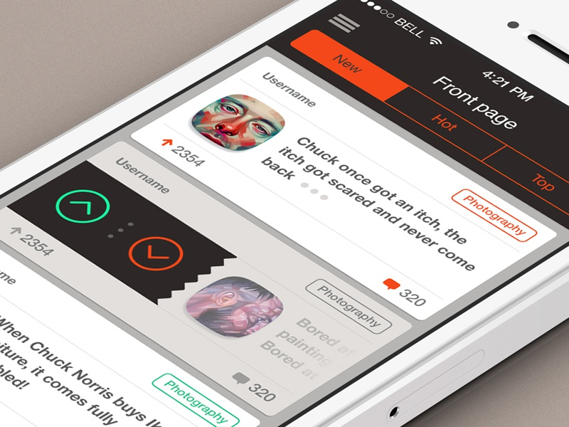 Activity Feed activity feed mobile ui ux ios7 ios 7 flat white clean rating