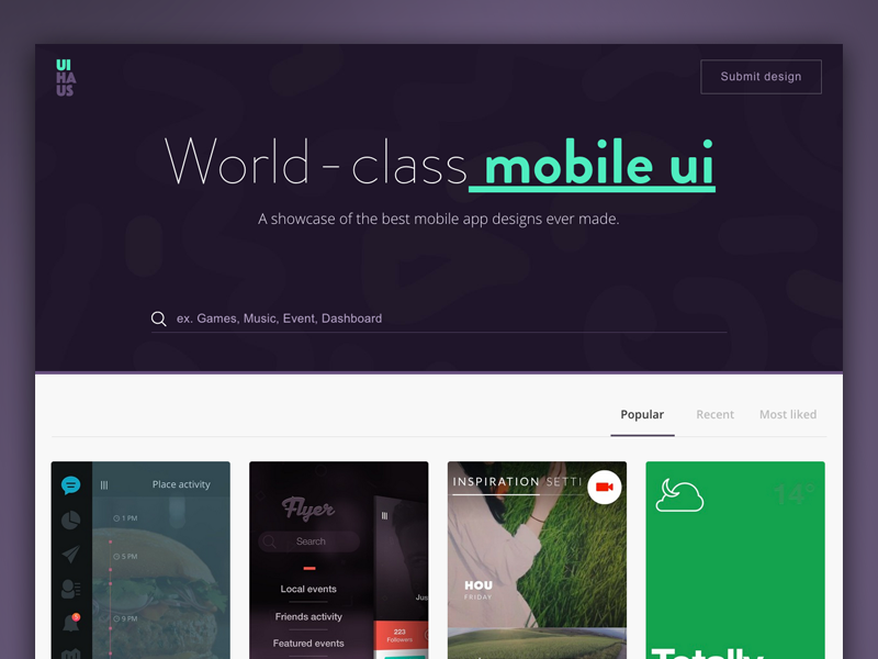 UI Haus design ui mobile landing page website startup share social