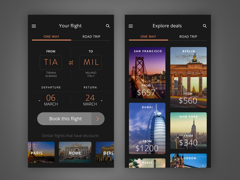 Inspirasi #30 - UI / UX Design Flight Web & App