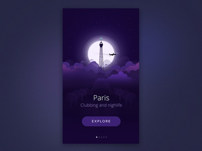 Paris nightlife paris city illustration ios ui ux intro start night