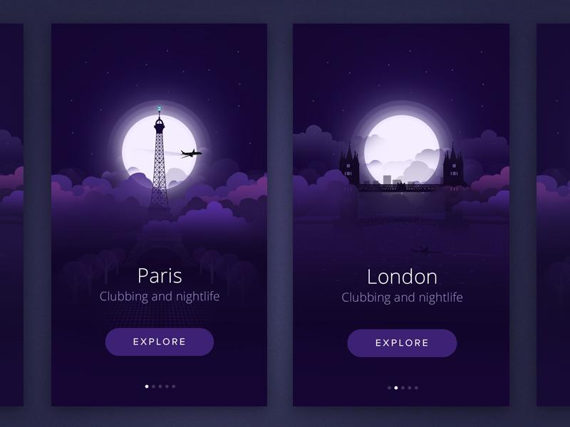 City At night london paris ui ux intro design ios swipe flat illustration