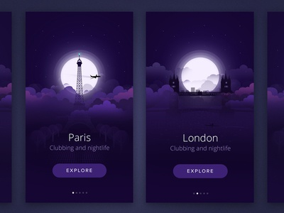City At night london paris ui ux intro design ios swipe flat illustration