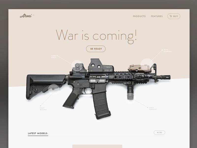 Armi landing page landing page site guns army machine ui ux website product light minimal