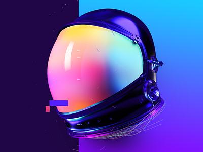 Baugasm Day 018 Y3 space blue purple color colors vasjen helmet astronaut abstract poster gradient baugasm