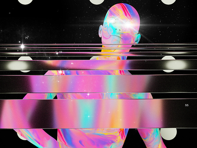 End of Humanity chromatic holographic photoshop galaxy space abstract poster humans portrait baugasm cinema4d experiment gradient