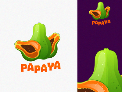 papaya logo animation branding design art vector sketch design ilustration coreldraw ilustrator logo
