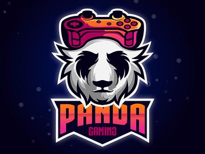 PANDA GAMING LOGO animation branding design art vector sketch design ilustration coreldraw ilustrator logo