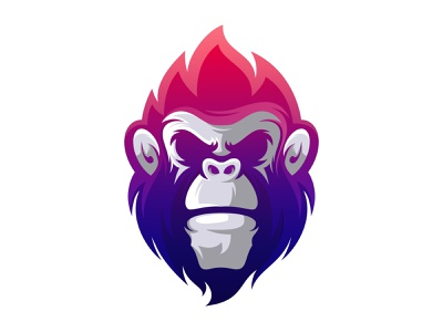 Monkey logo design gradient app animation branding design art vector sketch design ilustration coreldraw ilustrator logo