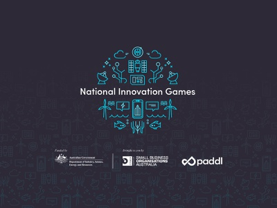 National Innovation Games pattern lockup lineart virtual event climatechange small business innovative icon design monoline icons paddl games illustration visual identity monoline logo badge brand identity hackathon innovation