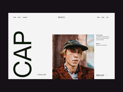 Shop cap design web header ux ui shop branding visual clean minimal typography