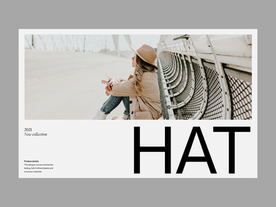 hats shop clean header web shop visual branding minimal typography ux ui design