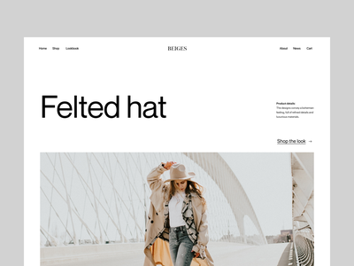 Shop felted hat shop visual branding typography design web header ux ui minimal