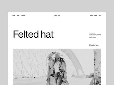Shop felted hat shop visual branding typography design web header ux ui minimal