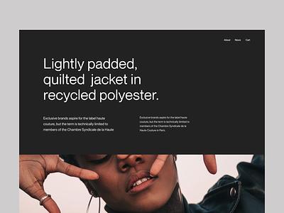 shop jacket page visual branding clean typography design web header ux ui minimal