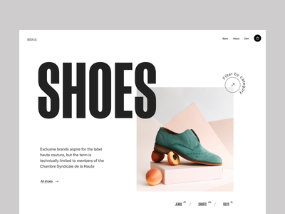 shop shoe design web typography webshop shoe store shop branding header ux ui minimal