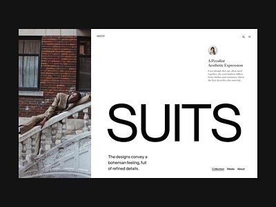 Suits webshop design web visual branding shop typography header minimal ux ui website
