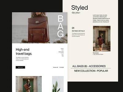 Travel bags fashion store store shop clean branding travel bag typography design web header ux ui minimal