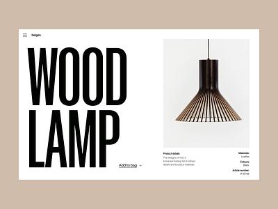 Lamp wood shop store light lamp shop webshop branding typography design web header ux ui minimal
