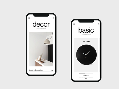 Modern decor shop clean app mobile mobile ui ecommerce app shop branding app design mobile app typography ux ui minimal