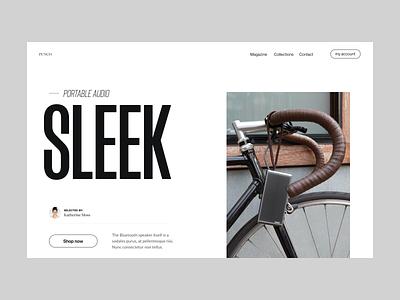 Sleek audio website store webshop shop speaker audio branding typography design web header ux ui minimal