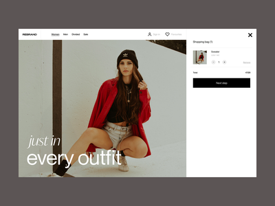 Just in website store webshop fashion branding typography design web header ux ui minimal