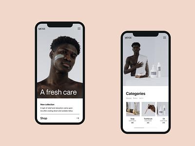A fresh care clean shop website webshop branding typography design web header ux ui minimal