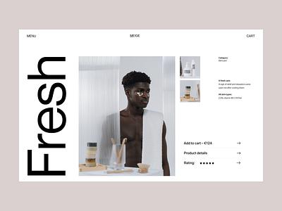 A fresh care fashion website store webshop branding typography design web header ux ui minimal