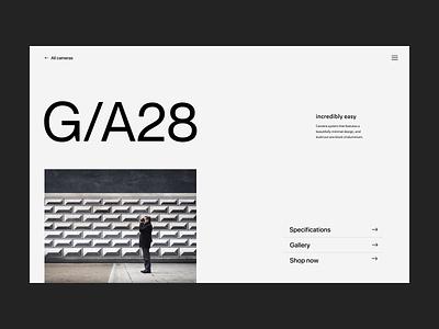 Incredibly easy camera webshop shop branding typography design web header ux ui minimal