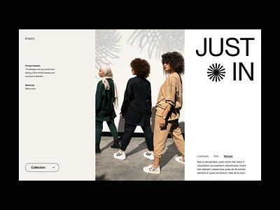 Just in webshop store shop branding typography design web header ux ui minimal