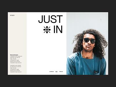 Just in store webshop shop branding typography design web header ux ui minimal