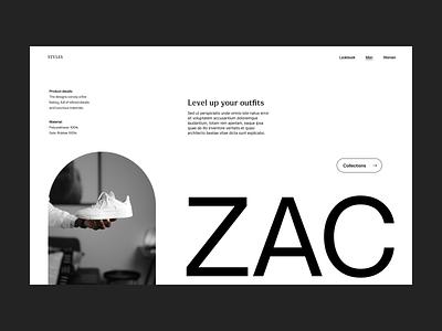 Shoe zac web shoe shop webshop branding design typography header ux ui minimal