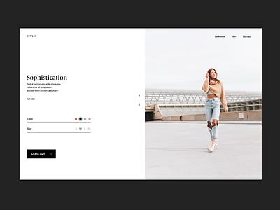 Sophistication webshop branding fashion typography design web header ux ui minimal