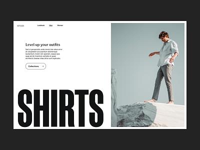 Level up webshop shop grid branding typography design web header ux ui minimal