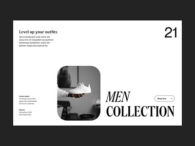 Level up outfit webshop shop shoe branding typography design web header ux ui minimal